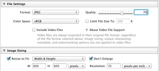 Lightroom settings to export to web